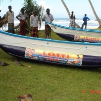 Jumbocruiser sponsored a fishing boat after a sunami in Indonesia and named it after Lotti (the bendi-bus)